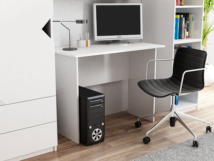 Białe biurko pod komputer, laptop 100x50 cm Adens