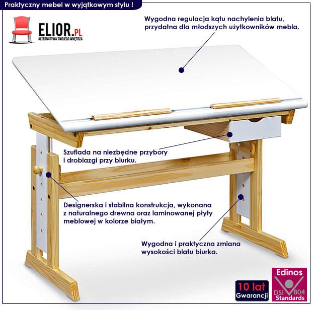 biurko z regulowanym kątem nachylenia blatu