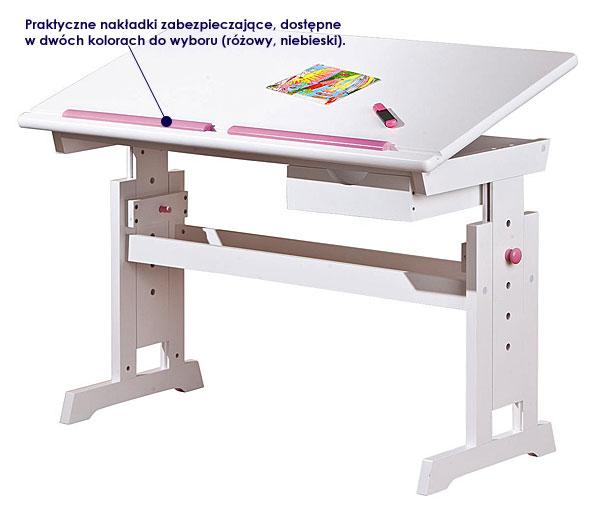 biurko dla dziewczynki Dixel różowe, białe