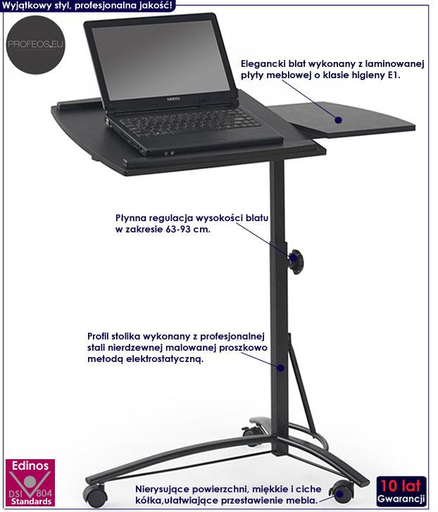 Czarne biurko na kółkach pod laptopa z regulowaną wysokością Ertis