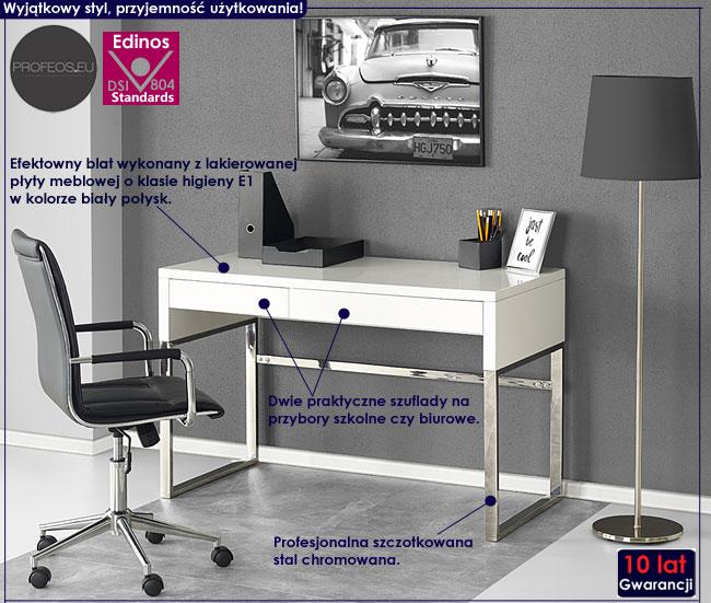 Lakierowane białe biurko Folger