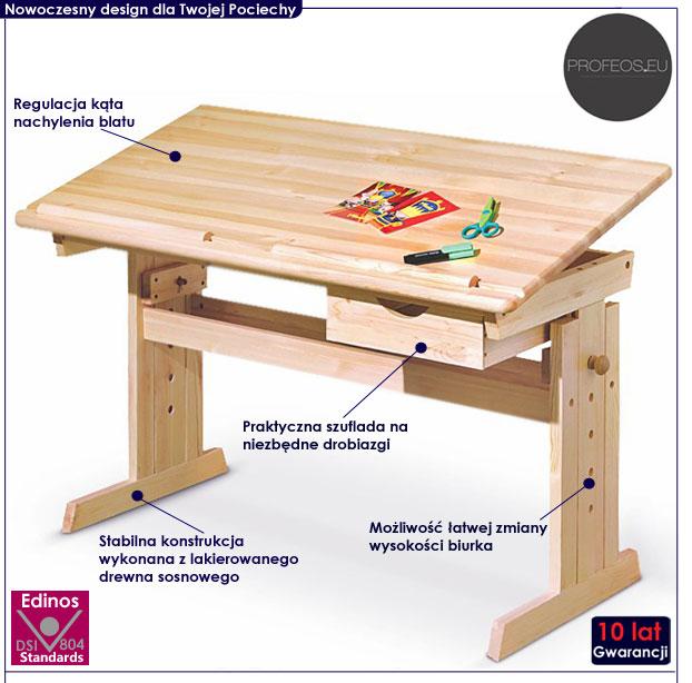 Drewniane biurko dla dziecka India