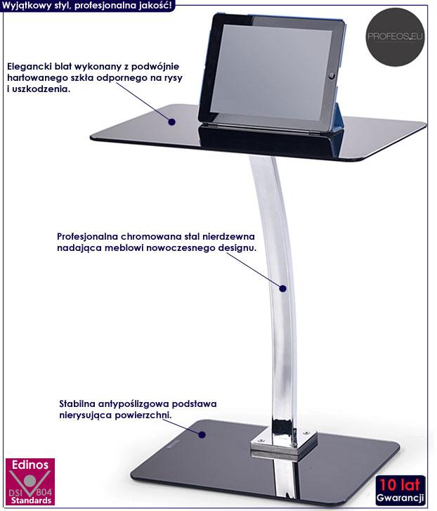 Szklane biurko komputerowe pod laptopa Koller