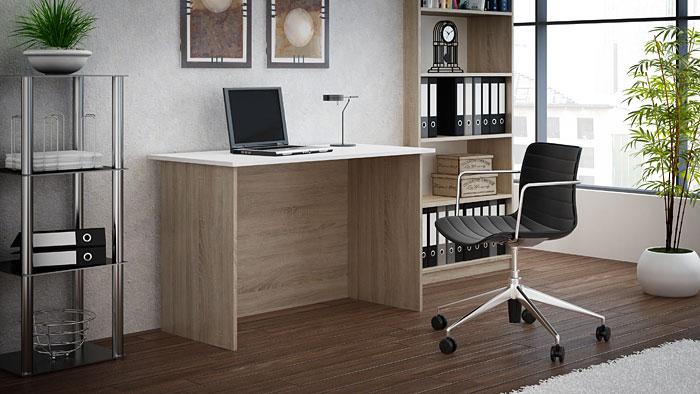 Biurko komputerowe białe, dąb sonoma Stanis