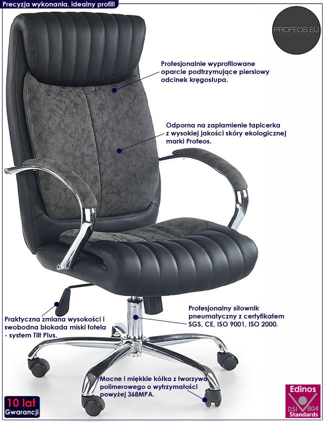 Czarny fotel obrotowy do komputera Abel