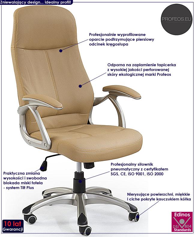 fotel do komputera biurka Afiks beż beżowy krzesło obrotowe