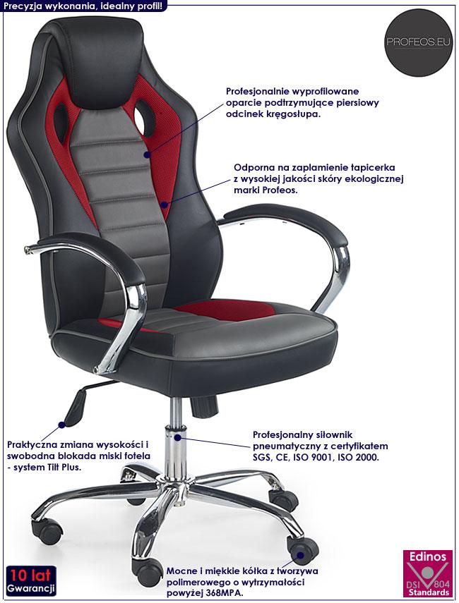 Czarny fotel obrotowy do komputera Afton