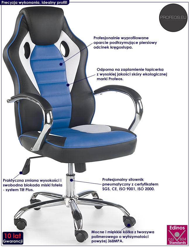 Niebieski fotel obrotowy dla gracza Afton