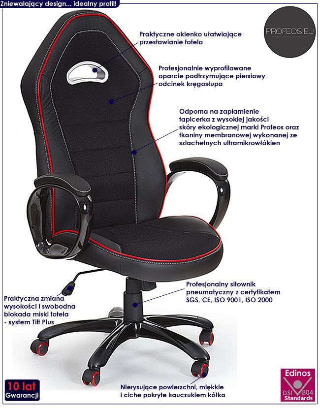 gamingowy fotel obrotowy biurowy czarny Ajaks