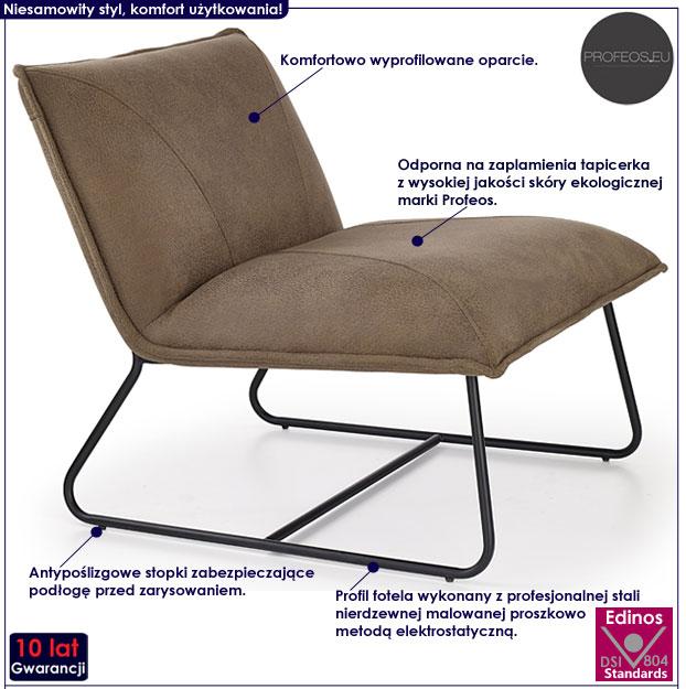 Beżowy fotel tapicerowany do salonu Alden