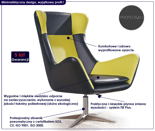 wypoczynkowy fotel ze zmianą wysokości Alexin