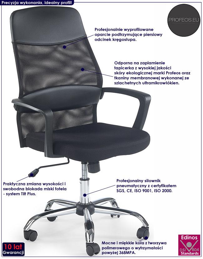 Czarny obrotowy fotel biurowy Anton