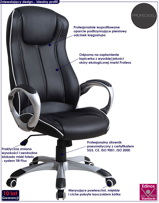 czarny fotel gabinetowy obrotowy Aptor do biura