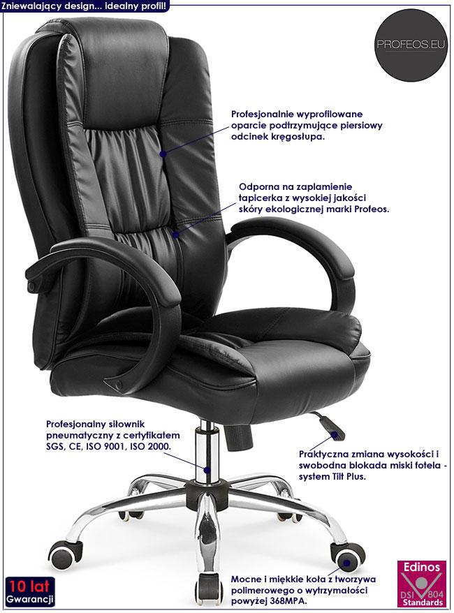 Czarny obrotowy fotel biurowy Ariel