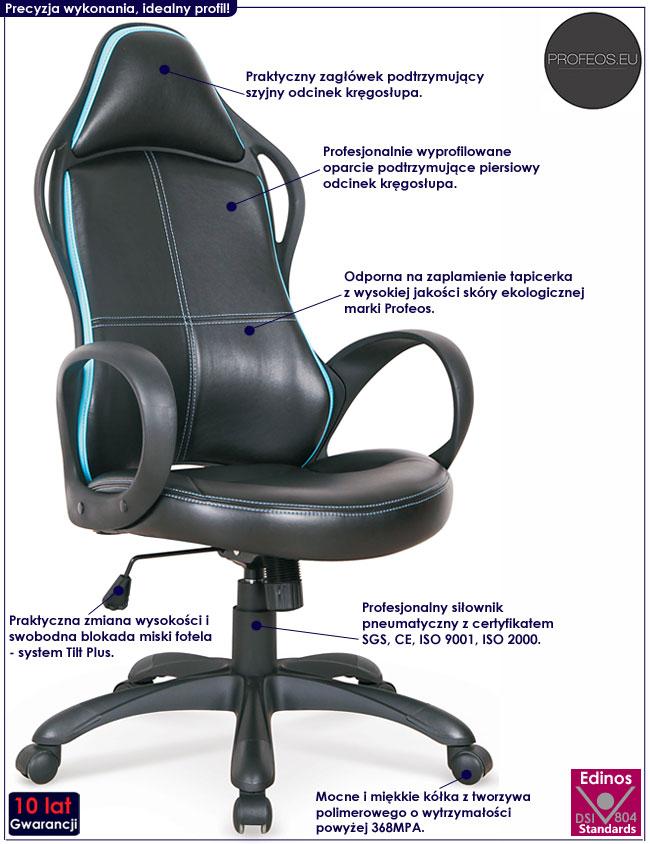 Czarny fotel obrotowy do komputera Arlen