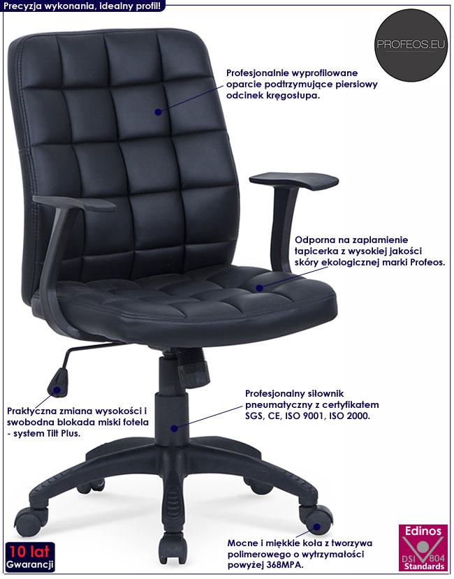 biurowy fotel obrotowy brązowy czarny do komputera Bitel