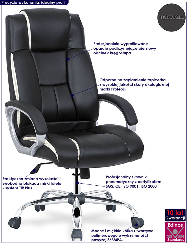 Czarny fotel obrotowy do gabinetu Breton