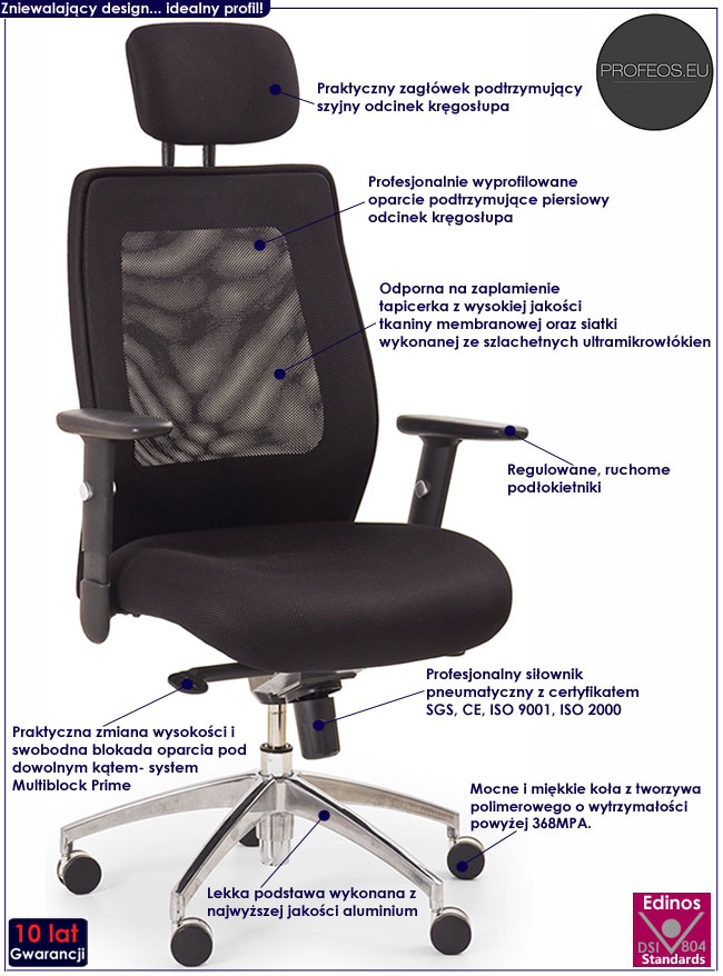 wygodny czarny fotel gabinetowy obrotowy Brevis do biurka