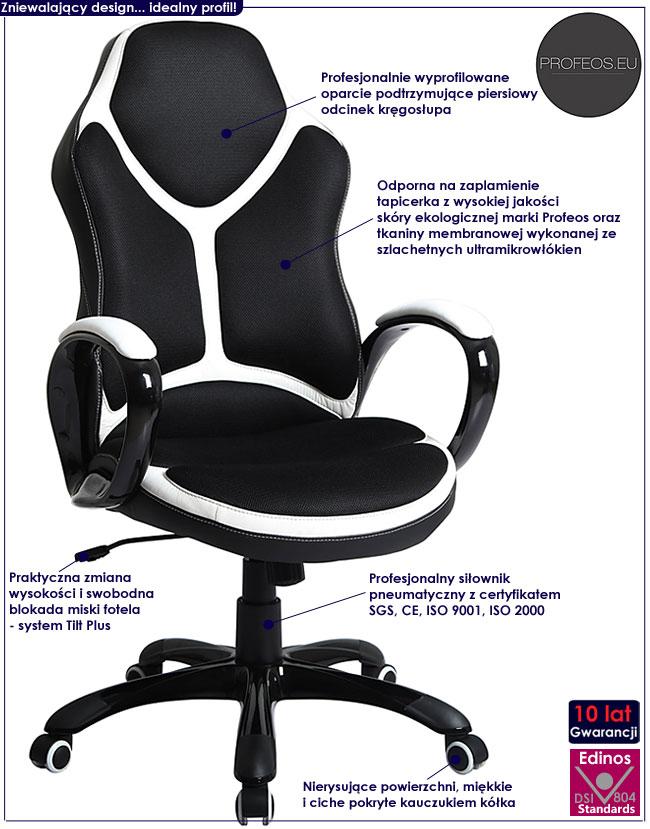 czarny fotel obrotowy biurowy Carlo krzesło do biurka