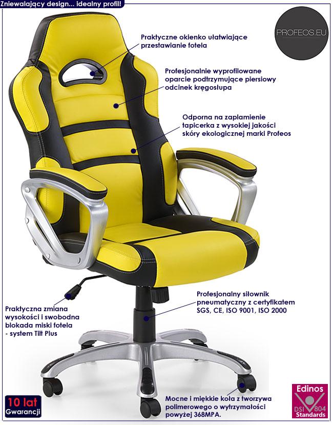 nowoczesny fotel obrotowy do komputera żółty Dager