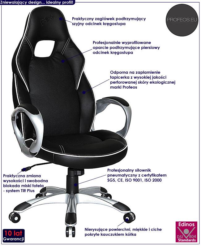 fotel obrotowy do biura komputera gabinetu czarny Danish