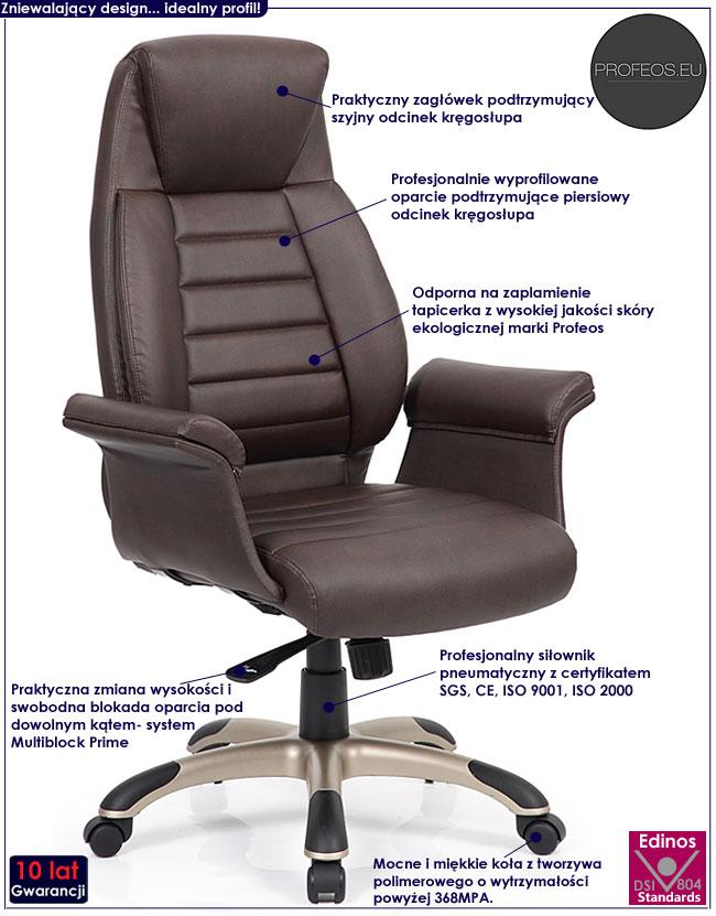 brązowy fotel obrotowy multiblock do biurka Danson