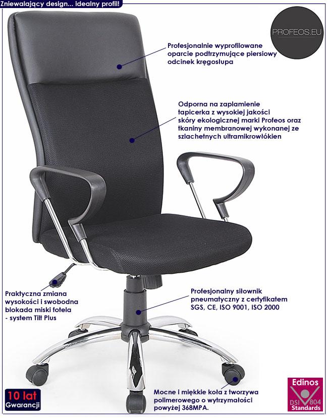 czarny fotel obrotowy do biurka Dargo biurowy