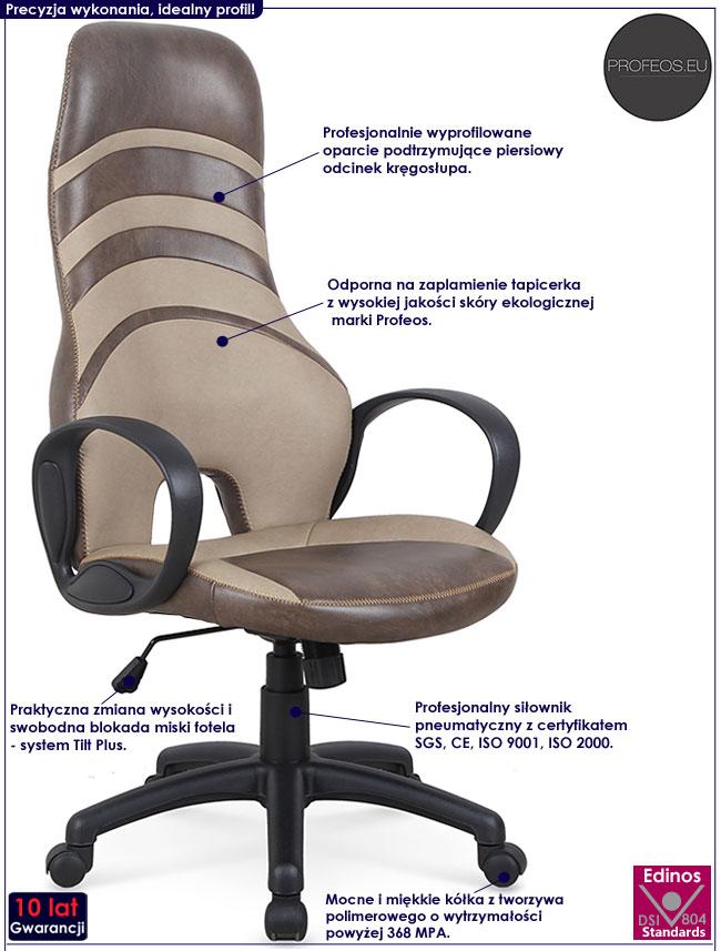 Nowoczesny brązowy fotel gabinetowy Daster