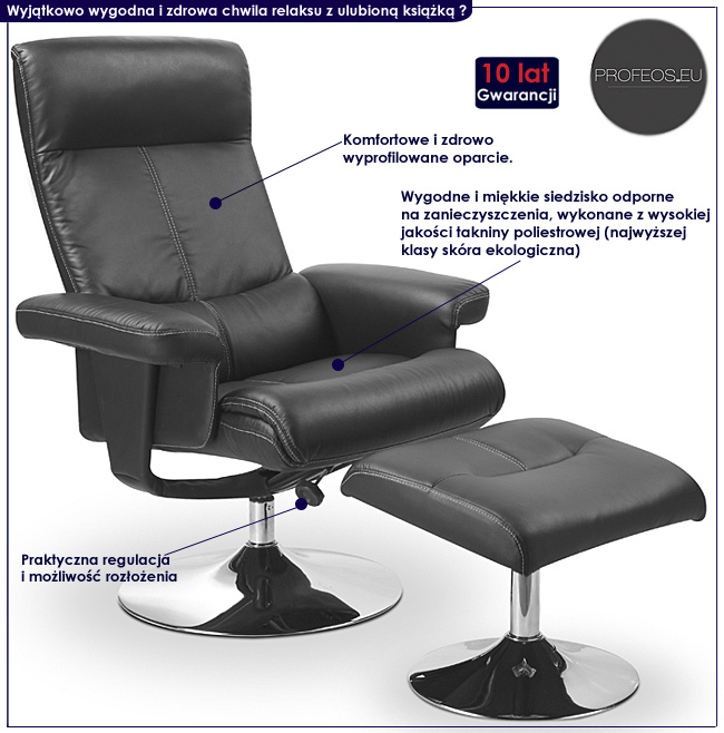 czarny fotel z podnóżkiem Delix