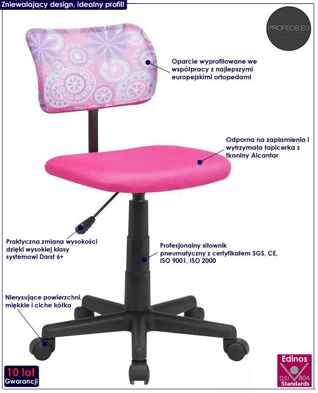 fotel obrotowy dla dziewczynki Didi różowy