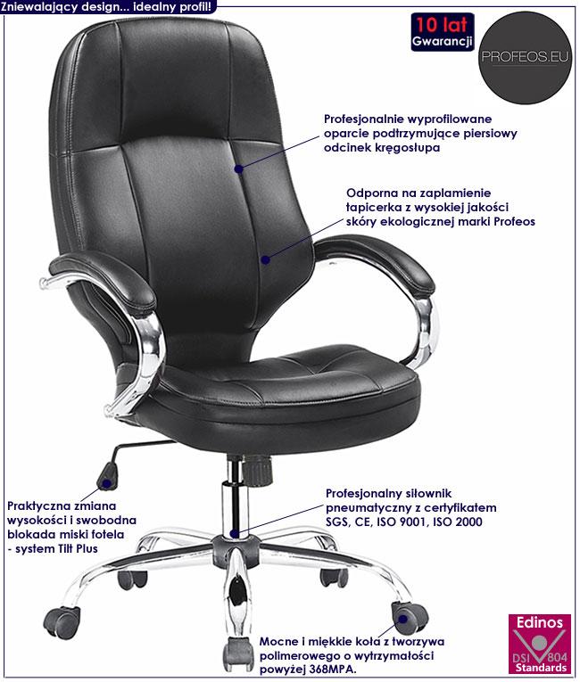 nowoczesny fotel obrotowy biurowy Dixon czarny