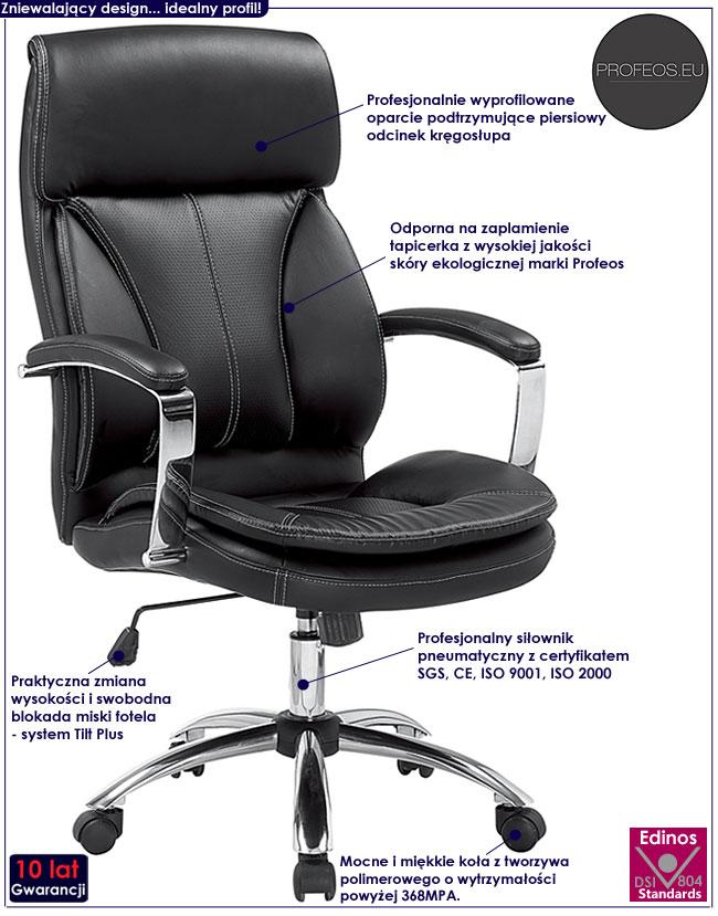 czarny fotel tapicerowany obrotowy do biurka Elton