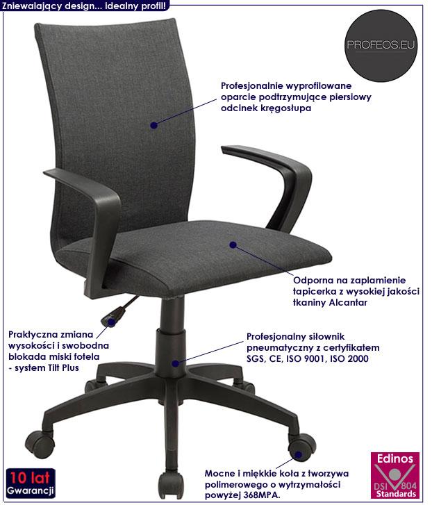 fotel biurowy szary Enver do komputera