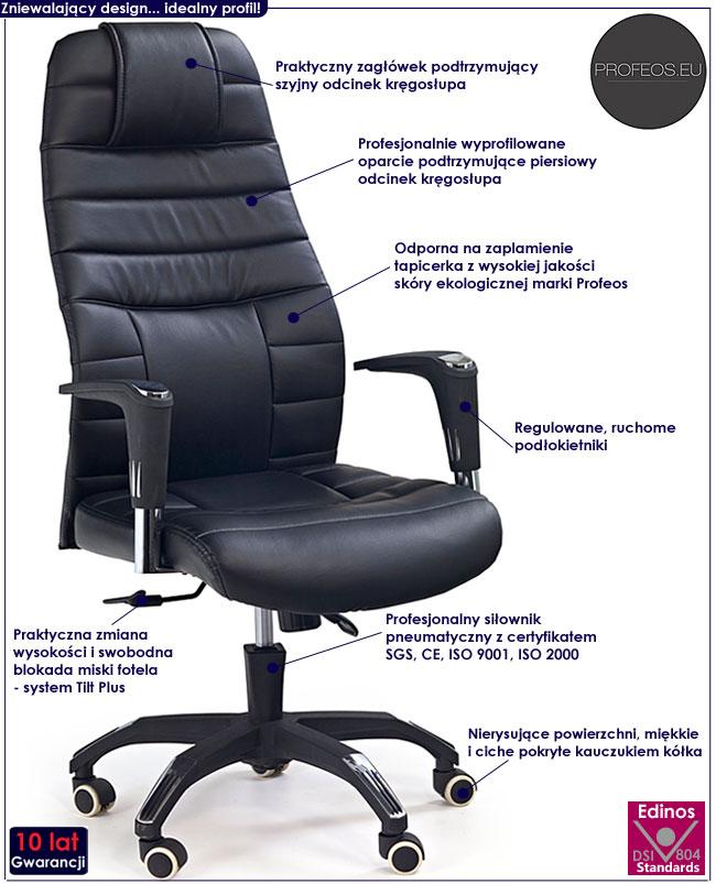 czarny fotel do gabinetu obrotowy biurowy Eshin