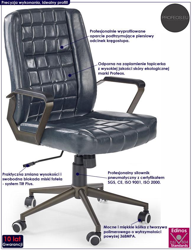 Granatowy, pikowany fotel obrotowy Evans
