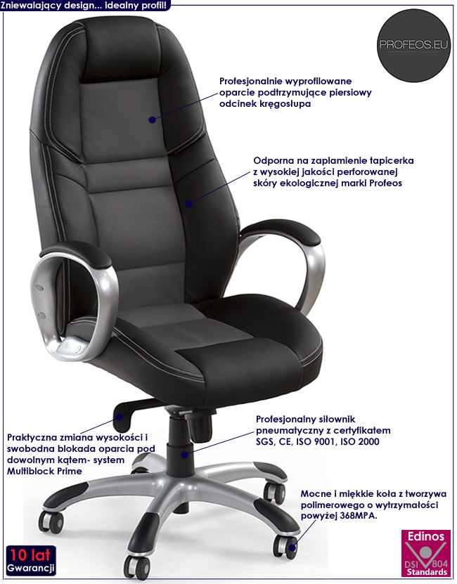 czarny fotel obrotowy gabinetowy do biura Factor
