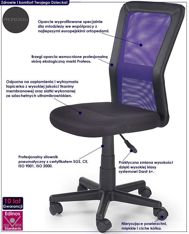 Wentylowane krzesło do biurka dla dziecka Fargo