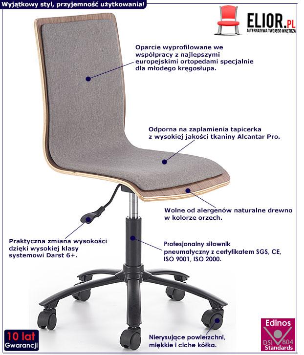 Szare krzesło obrotowe dla ucznia Forin