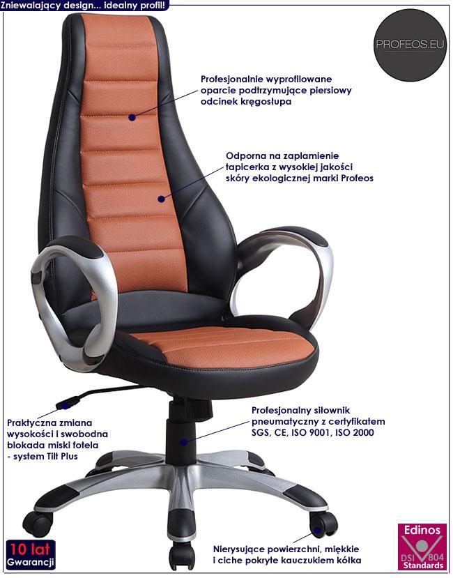 biurowy fotel obrotowy brązowy Heros do komputera