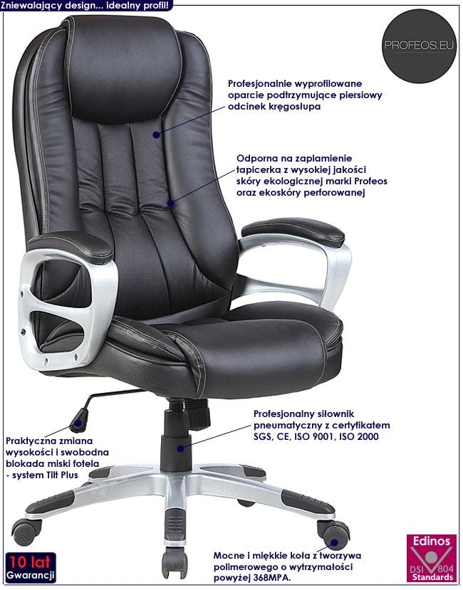 gabinetowy fotel obrotowy czarny biurowy Hosper