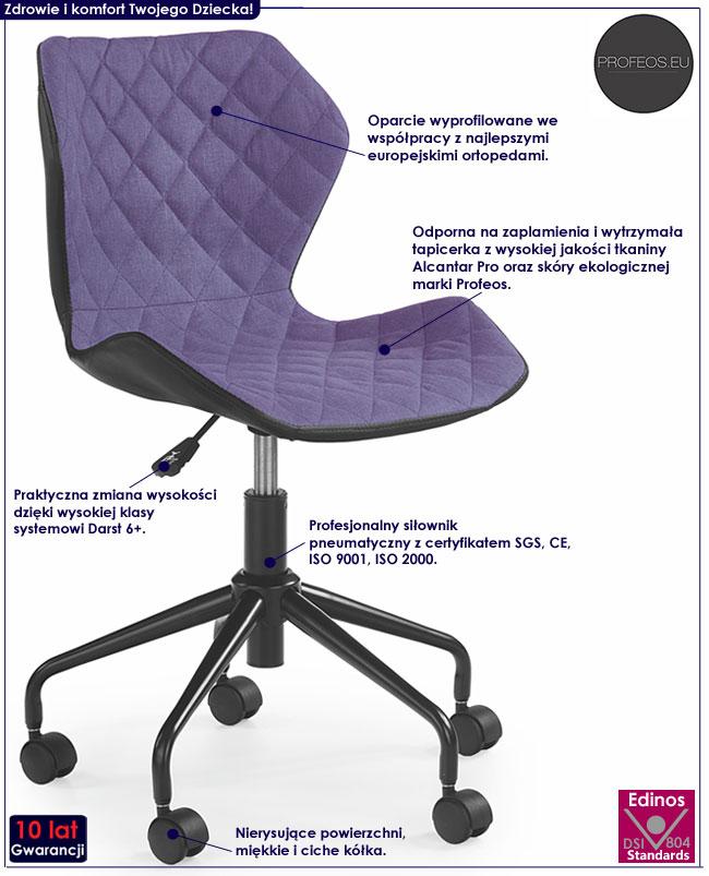Obrotowy fotel dla dziecka, ucznia do biurka Kartex