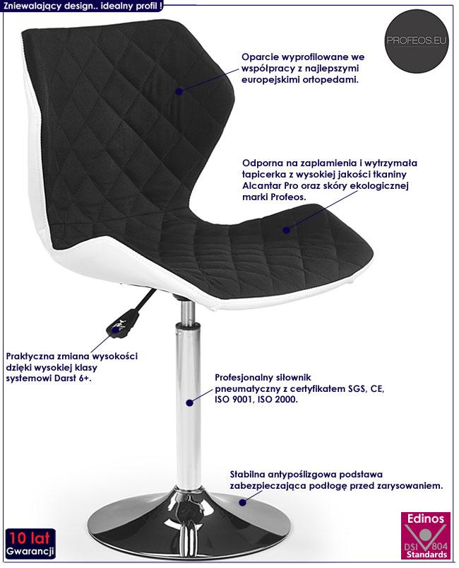 Pikowany czarny fotel młodzieżowy Kartex 2X