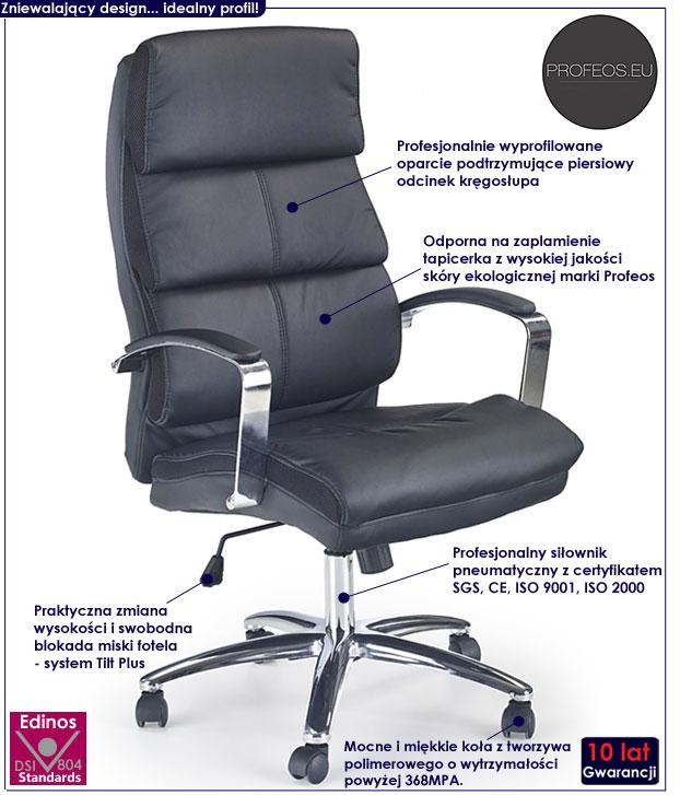 fotel czarny biurowy obrotowy Kelso