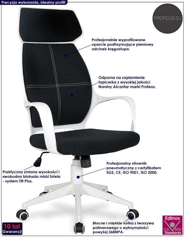Czarny fotel gabinetowy do biurka Kelson