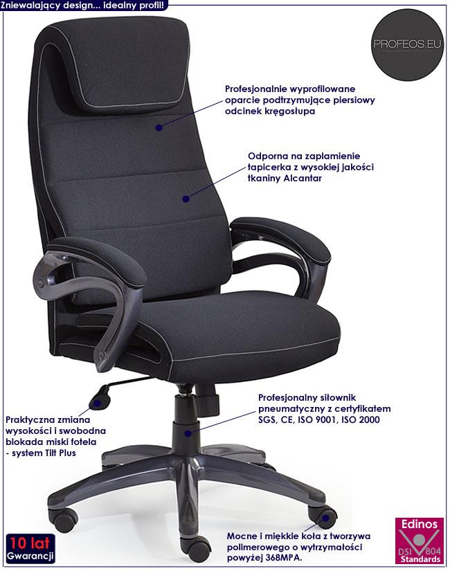 czarny tapicerowany fotel obrotowy gabinetowy Lantan