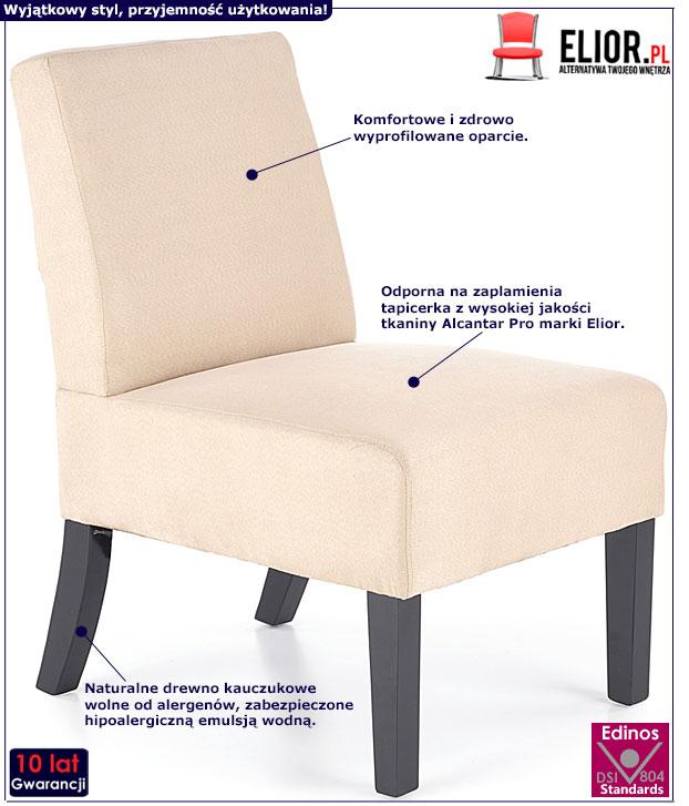 Beżowy, nowoczesny fotel wypoczynkowy Lavir