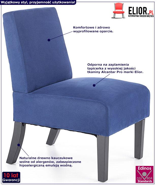 Granatowy fotel wypoczynkowy do salonu Lavir