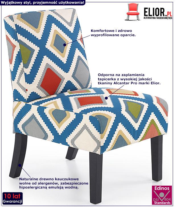 Kolorowy fotel wypoczynkowy z printem Lavir