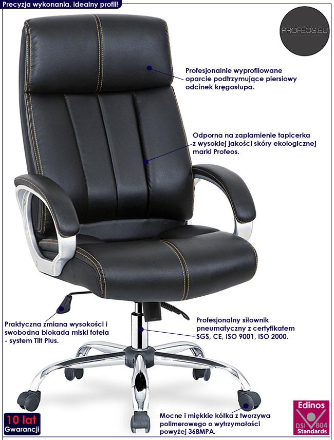Czarny fotel dyrektorski do biurka Ledis