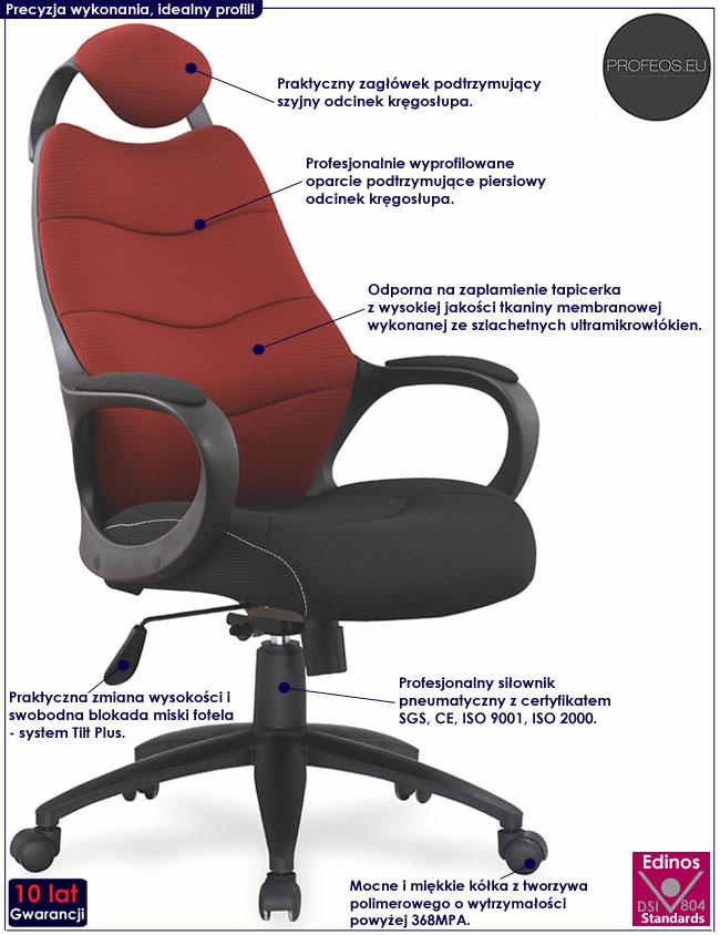 Bordowy fotel do biurka Lefter